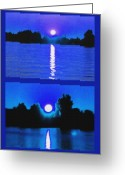 St Lawrence River Mixed Media Greeting Cards - Alexandria Bay Moonrise Diptych Greeting Card by Steve Ohlsen