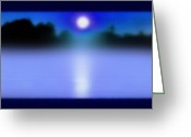 St Lawrence River Mixed Media Greeting Cards - Alexandria Bay Moonrise Mist Greeting Card by Steve Ohlsen