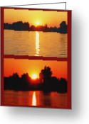 St Lawrence River Mixed Media Greeting Cards - Alexandria Bay Sunset Diptych Greeting Card by Steve Ohlsen