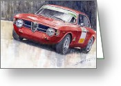Motorsport Greeting Cards - Alfa Romeo Giulie Sprint GT 1966 Greeting Card by Yuriy  Shevchuk