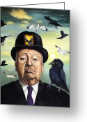 Horror Greeting Cards - Alfred Hitchcock Greeting Card by Leah Saulnier The Painting Maniac