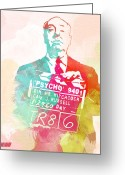 Art Prints Digital Art Greeting Cards - Alfred Hitchcock Greeting Card by Irina  March