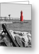 Beauty Mark Greeting Cards - Algoma Lighthouse is Anchored Greeting Card by Mark J Seefeldt
