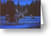 Moonlight Greeting Cards - Algonquin Moonlight Greeting Card by Richard De Wolfe