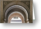 Carving Greeting Cards - Alhambra arches Greeting Card by Jane Rix