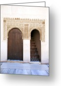 Engraving Greeting Cards - Alhambra door and stairs Greeting Card by Jane Rix