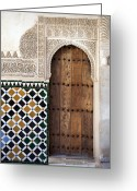Engraving Greeting Cards - Alhambra door detail Greeting Card by Jane Rix