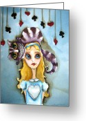 Clubs Greeting Cards - Alice and Cheshire Cat Greeting Card by Lucia Stewart