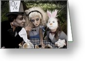 Hatter Greeting Cards - Alice and Friends 2 Greeting Card by Kelly Jade King