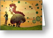 Hookah Greeting Cards - Alice and the Caterpillar  Greeting Card by Carol and Mike Werner