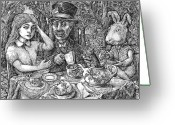Mad Hatter Digital Art Greeting Cards - Alice and the Mad Hatter Greeting Card by Steve Breslow