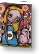 Alice In Wonderland Painting Greeting Cards - Alice and the Pink Bunny Greeting Card by  Abril Andrade Griffith