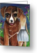 Jaz Greeting Cards - Alice and The Puppy Greeting Card by Jaz Higgins