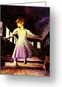 Little Girl Greeting Cards - Alice and the Rabbit Greeting Card by Bob Orsillo