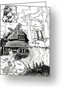 Hare Drawings Greeting Cards - Alice at the March Hares House Greeting Card by Keith QbNyc