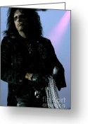 Hall Of Fame Greeting Cards - Alice Cooper walking with Pearls Greeting Card by Christopher  Chouinard