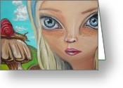Alice In Wonderland Painting Greeting Cards - Alice Finds a Snail Greeting Card by Jaz Higgins