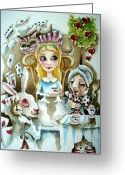 Alice In Wonderland Painting Greeting Cards - Alice in Wonderland 1 Greeting Card by Lucia Stewart