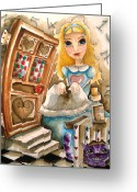 Alice In Wonderland Painting Greeting Cards - Alice in Wonderland 2 Greeting Card by Lucia Stewart