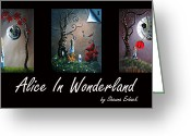 Red Roses Greeting Cards - Alice In Wonderland Collection by Shawna Erback Greeting Card by Shawna Erback