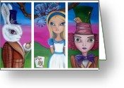 Alice In Wonderland Painting Greeting Cards - Alice in Wonderland Inspired Triptych Greeting Card by Jaz Higgins