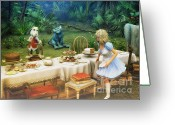 3d Graphic Greeting Cards - Alice in Wonderland Greeting Card by Jutta Maria Pusl