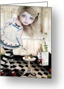 Ephemera Collage Greeting Cards - Alice Greeting Card by Jessica Grundy