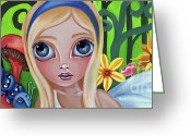 Blonde Girl Greeting Cards - Alice Meets the Caterpillar Greeting Card by Jaz Higgins