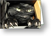 Scare Greeting Cards - Alices cat Greeting Card by Rebecca Margraf