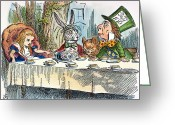 Mad Hatter Photo Greeting Cards - Alices Mad-tea Party, 1865 Greeting Card by Granger