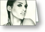 Keys Drawings Greeting Cards - Alicia Keys Greeting Card by Dima Grysen