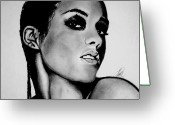 Keys Drawings Greeting Cards - Alicia Keys Drawing Greeting Card by Keeyonardo