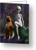 Flying Saucer Greeting Cards - Alien and Dog Greeting Card by Daniel Eskridge