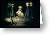 Cover Greeting Cards - Alien Autopsy Alien Abduction Greeting Card by Bob Orsillo