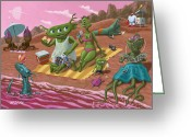 Little Monsters Greeting Cards - Alien Beach Vacation Greeting Card by Martin Davey