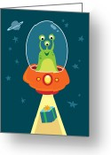 Exploration Digital Art Greeting Cards - Alien Beams Greeting Card by Jerrod Maruyama Illustration