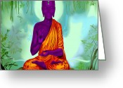 Scale Digital Art Greeting Cards - Alien Buddha Meditation  Greeting Card by Niklas  Bates