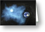 Black Cloud Greeting Cards - Alien Cloud Near Earth, Artwork Greeting Card by Christian Darkin