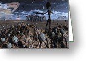 Ancient Aliens Greeting Cards - Alien Explorers On An Alien World Greeting Card by Mark Stevenson