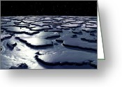 Ice-floe Greeting Cards - Alien Ice Planet, Artwork Greeting Card by Christian Darkin