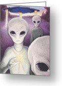 Aliens Drawings Greeting Cards - Alien Offering Greeting Card by Amy S Turner