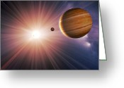 Extrasolar Planet Greeting Cards - Alien Planet And Star, Artwork Greeting Card by Detlev Van Ravenswaay
