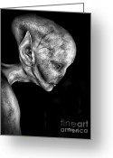 Green Monster Greeting Cards - Alien Portrait  Greeting Card by Bob Orsillo