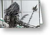 Textured Sculpture Greeting Cards - Alien Predator Greeting Card by Yurix Sardinelly
