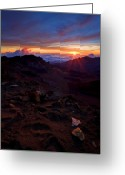 Volcano Greeting Cards - Alien Sunrise Greeting Card by Mike  Dawson