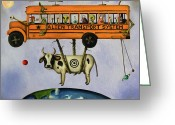 Green Monster Greeting Cards - Alien Transport System Greeting Card by Leah Saulnier The Painting Maniac