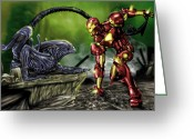 Tony Painting Greeting Cards - Alien vs Iron Man Greeting Card by Pete Tapang
