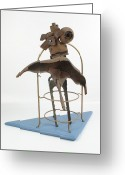 Science Fiction Sculpture Greeting Cards - Alien With Thrust Greeting Card by Michael Jude Russo