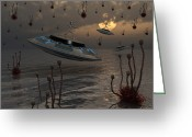 Bizarre Digital Art Greeting Cards - Aliens Celebrate Their Annual Harvest Greeting Card by Mark Stevenson