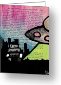 Aliens Drawings Greeting Cards - Aliens Love Pizza Greeting Card by Jera Sky